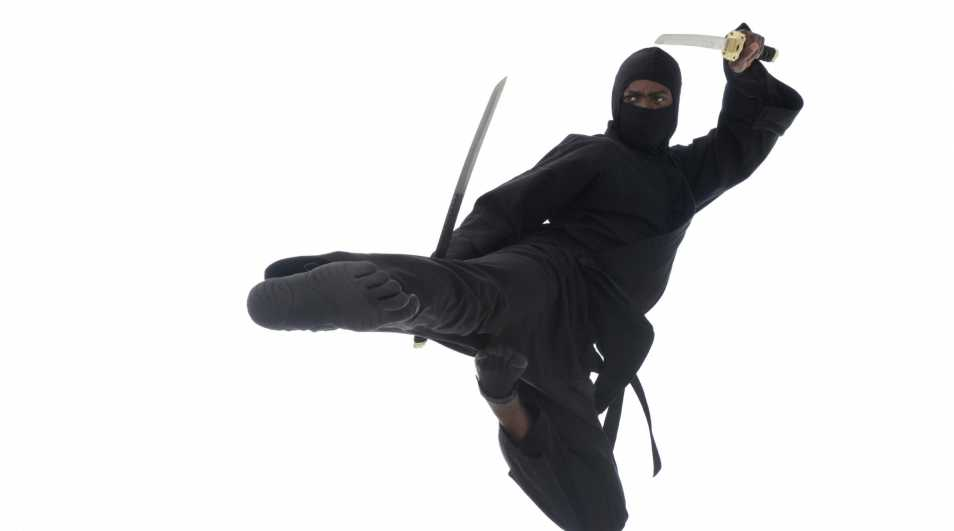 Ninja executing a flying side kick with katanas.